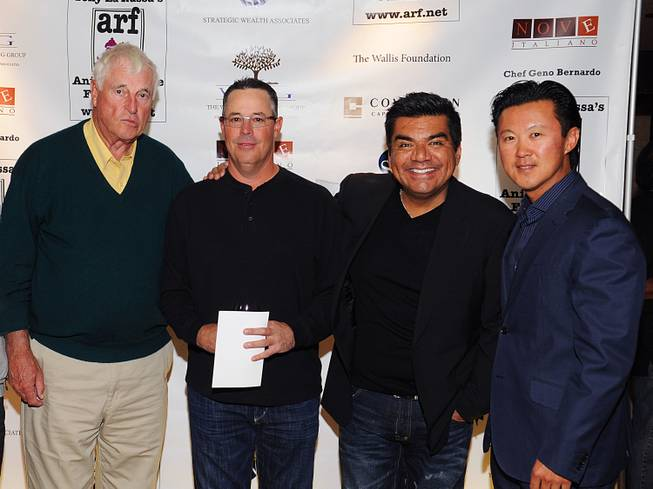 Bobby Knight, Greg Maddux, George Lopez and Jimmy Lee attend the Tony LaRussa Animal Rescue Foundation Dinner at Nove Italiano in the Palms on Wednesday, Nov. 14, 2012.