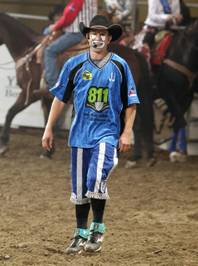 J.J. Harrison, the 2012 National Finals Rodeo's clown and barrelman.