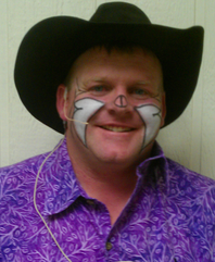 Rodeo clown Justin Rumford, alternate clown/barrelman for the 2012 National Finals Rodeo.