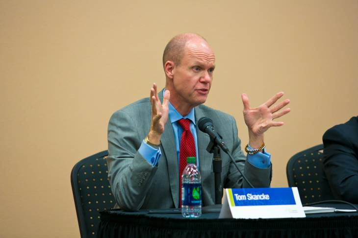 Tom Skancke, Regional Economic Development Council CEO, makes a few remarks during the Global City rountable, held inside the Stan Fulton Building, UNLV, Thursday, Nov. 15, 2012.