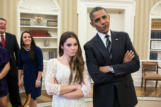 "Nov. 15, 2012.""The President had just met with the U.S. Olympics gymnastics team, who because of a previous commitment had missed the ceremony earlier in the year with the entire U.S. Olympic team. The President suggested to McKayla Maroney that they recreate her 'not impressed' photograph before they departed."""