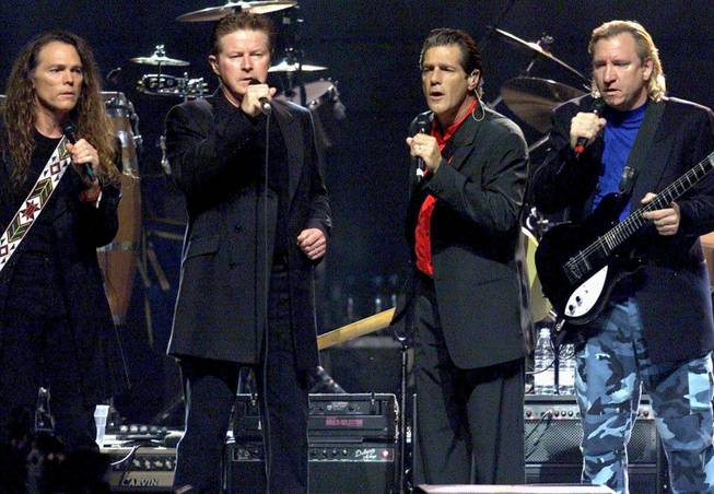 The Eagles, with Timothy B. Smit, Don Henley, Glenn Frey and Joe Walsh, perform on their European tour at Hallenstadion on Friday, July 13, 2001, in Zurich, Switzerland.