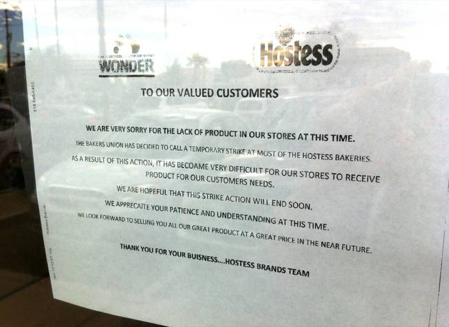 A notice placed on the door of the Wonder Hostess Bakery Outlet on 4348 E. Craig Road tells customers about the lack of products due to a strike. The company announced today (Friday, Nov. 16, 2012) that it was shutting down.