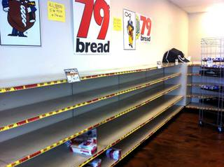 The shelves of the Wonder Hostess Bakery Outlet on 4348 E. Craig Road are bare after customers picked the store clean. Hostess announced today (Friday, Nov. 16, 2012) that it was shutting down and would be liquidating remaining products.