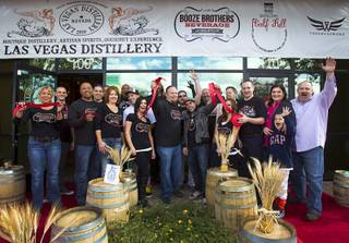 Members of the Las Vegas Distillery, the Booze Brothers Beverage distribution company and the Half Full Artisan Shop at the Distillery celebrate during the Historic First Edition Day at the Las Vegas Distillery in Henderson Saturday, November 17, 2012. The event marks the first bottling of several new spirits and the grand opening of the the distribution company and the retail store. The spirits include Nevada vodka, whiskey, gin, rum and moonshine.