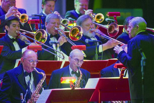 Entertainer Jerry Lewis, right, performs with an orchestra at the Orleans Showroom Sunday, November 18, 2012.