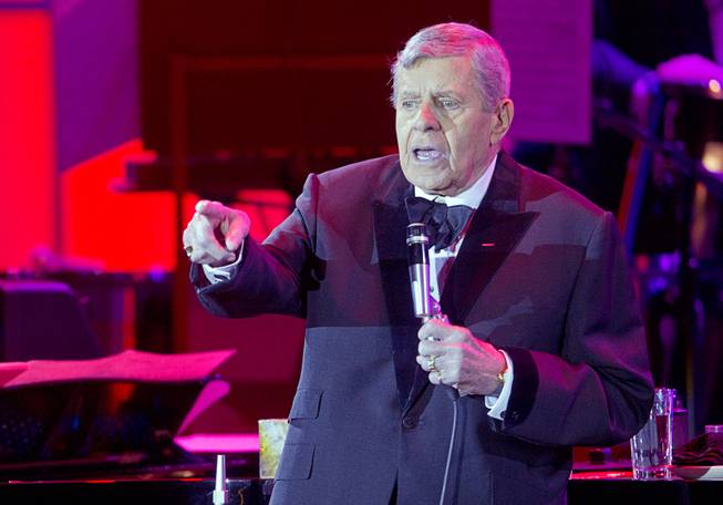 Entertainer Jerry Lewis performs at The Orleans Showroom on Sunday, Nov. 18, 2012.