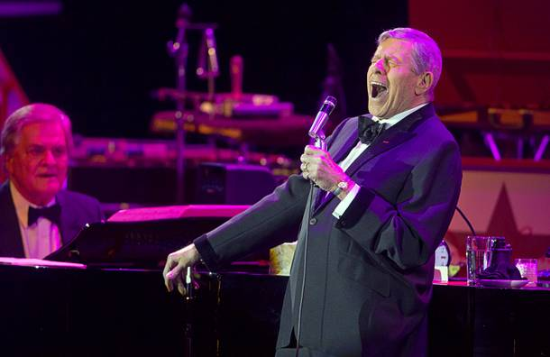 Entertainer Jerry Lewis sings during a performance at the Orleans Showroom Sunday, November 18, 2012.