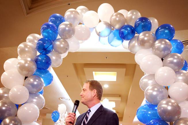 Lincoln Spoor, CEO of Feel Good Brands speaks during the grand opening of Castle Walk Food Court at the Excalibur in Las Vegas on Tuesday, November 20, 2012.