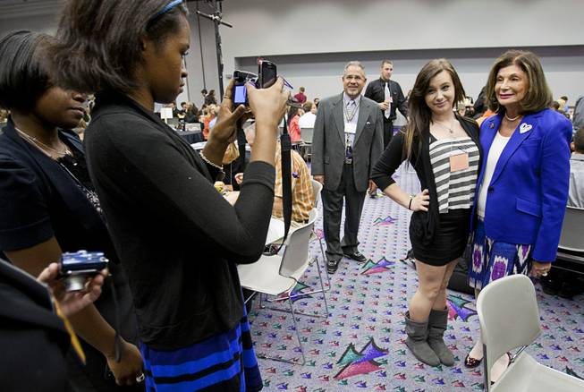 Students take photos with Congresswoman Shelley Berkley during the annual Las Vegas Sun Youth Forum at the Las Vegas Convention Center Tuesday, November 20, 2012.