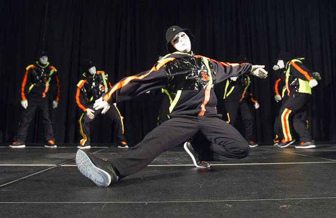 Jabbawockeez perform for students at lunch during the annual Las Vegas Sun Youth Forum at the Las Vegas Convention Center Tuesday, November 20, 2012.
