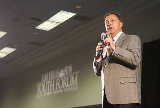UNLV Athletic Director Jim Livengood addressees students during the annual Las Vegas Sun Youth Forum at the Las Vegas Convention Center Tuesday, November 20, 2012. Livengood promised to add another $1,000 to any Youth Forum scholarship winner who decides to attend UNLV.