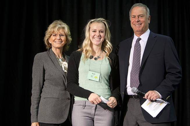 Scholarship winner Nicole Haddad of Foothill High School poses with Janie Greenspun-Gale and Brian Greenspun during the annual Las Vegas Sun Youth Forum at the Las Vegas Convention Center Tuesday, November 20, 2012.
