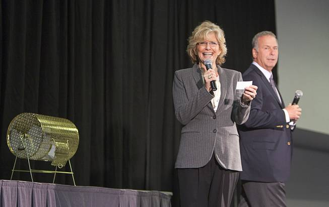 Janie Greenspun-Gale and Brian Greenspun announce a winner of a scholarship winner donated by former Nevada first lady Sandy Miller during the annual Las Vegas Sun Youth Forum at the Las Vegas Convention Center Tuesday, November 20, 2012.