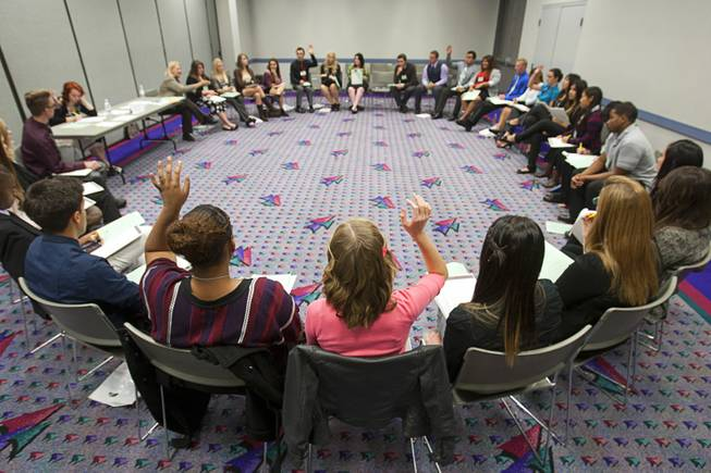 Students participate in a discussion during the annual Las Vegas Sun Youth Forum at the Las Vegas Convention Center Tuesday, November 20, 2012.