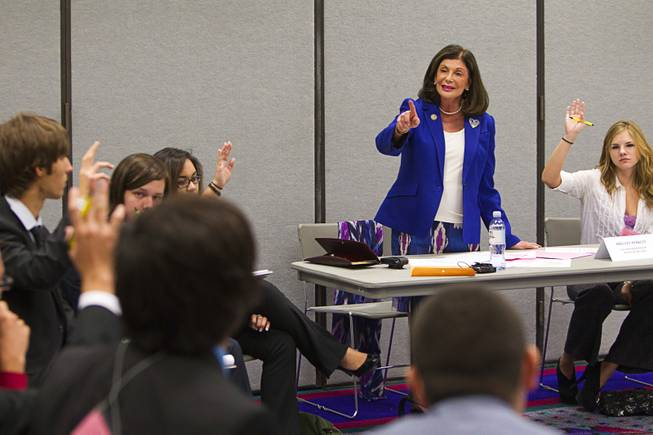 Congresswoman Shelley Berkley calls on a student during the annual Las Vegas Sun Youth Forum at the Las Vegas Convention Center Tuesday, November 20, 2012. Berkley participated in the Sun Youth Forum in 1967 and 1968 as a Valley High School student.