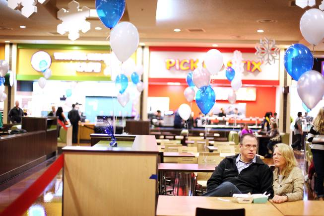 Balloons decorate the dining area during the grand opening of Castle Walk Food Court at the Excalibur in Las Vegas on Tuesday, November 20, 2012.