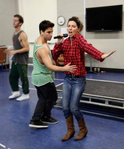 Shania Twain rehearses with her dancers in Las Vegas.