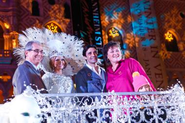 John Caparella, The Venetian's Queen Aldabella, Gilles Marini and Dot Marie Jones appear at the opening celebration of Winter in Venice at The Venetian and The Palazzo Las Vegas, Tuesday, Nov. 20, 2012.