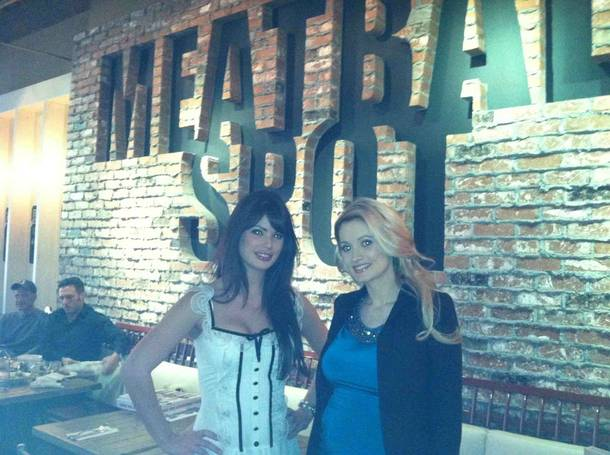 Laura Croft and Holly Madison at Meatball Spot in Town Square.