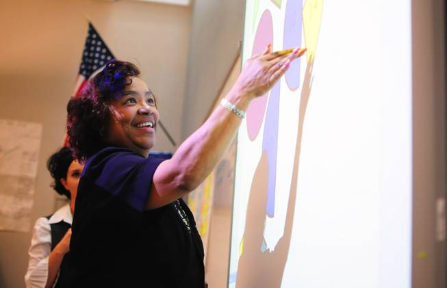 "Fitzgerald Elementary School fifth-grade teacher Danita Britt participates in a summer training session. The Clark County School District is trying to increase the number of teachers of color, such as Britt, to lessen its ""teacher diversity gap."""