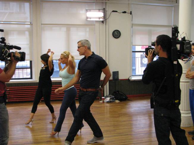 "Coco works with Jerry Mitchell and Paula Castleton during ""Peepshow"" rehearsals in New York."