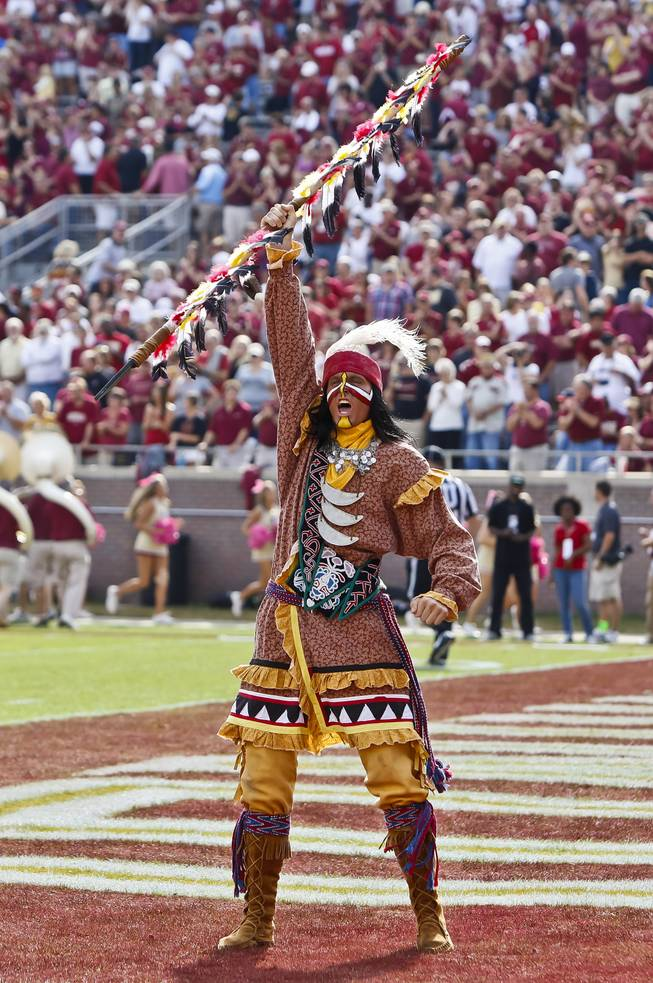 Florida State Seminoles mascot Chief Osceola raises his spear to the crowd before the start of action between the Florida State Seminoles and the Duke Blue Devils at Doak S. Campbell Stadium in Tallahassee.