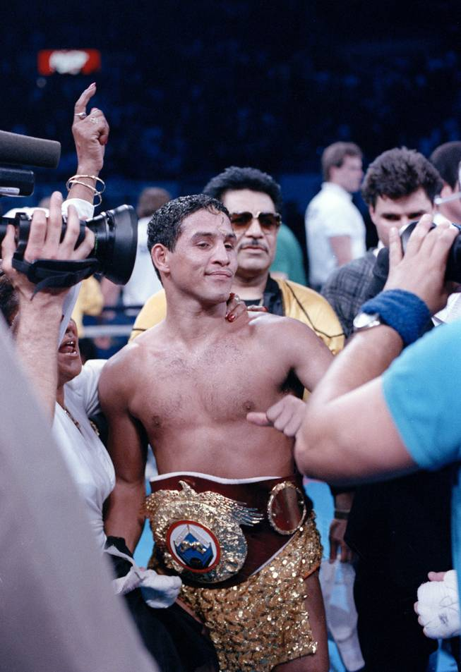 "Hector ""Macho"" Camacho is shown after his victory over Ray Mancini in the WBO Junior Welterweight Champioship Fight in Reno, Nev., March 7, 1989."