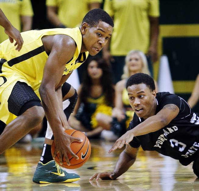 Oregon freshman Dominic Artis, a Findlay Prep grad, comes up with a loose ball against Portland State on Nov. 12, 2012. Artis helped the Ducks win that game, 80-69, and get them to a 4-0 start.