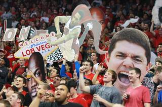 The UNLV student section cheers during their game against Oregon Friday, Nov. 23, 2012 in the Global Sports Classic. Oregon upset the 18th-ranked Rebels 83-79.