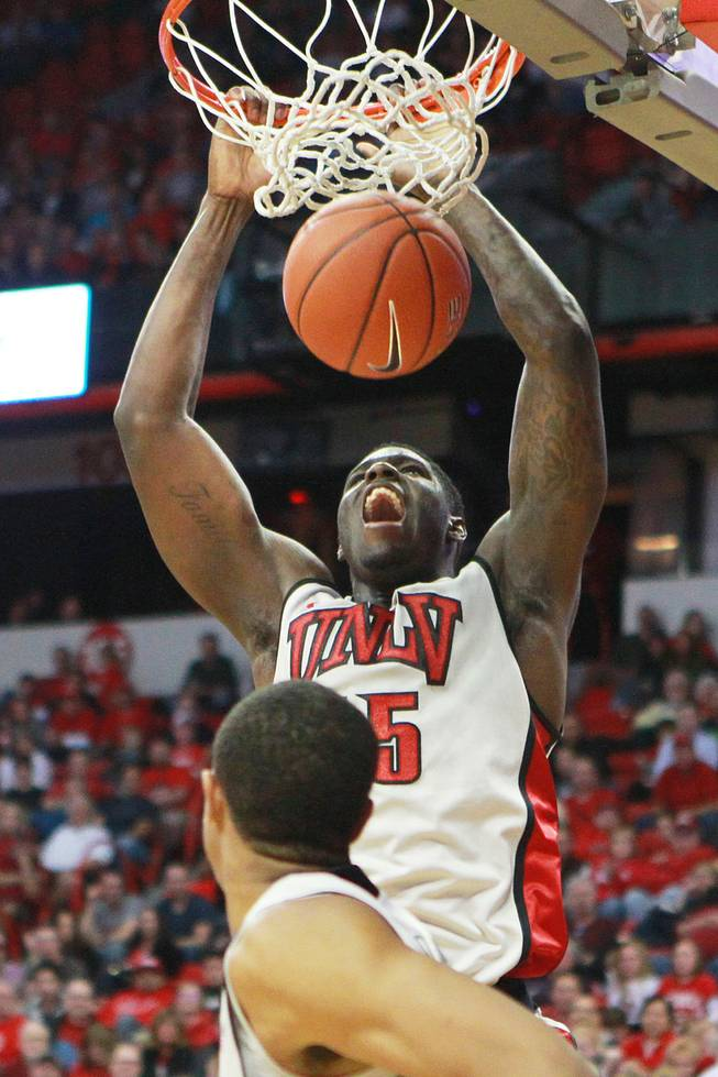 UNLV forward Anthony Bennett dunks during their game against  Iowa State Saturday, Nov. 24, 2012 in the Global Sports Classic at the Thomas & Mack Center. UNLV won the game 82-70.