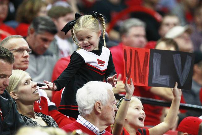 A young UNLV fan dances during a time out in the Rebels game against  Iowa State Saturday, Nov. 24, 2012 in the Global Sports Classic at the Thomas & Mack Center. UNLV won the game 82-70.