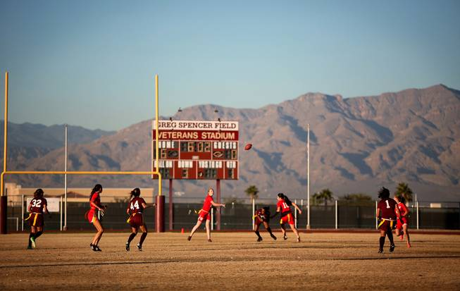 The Arbor View and Cimarron-Memorial girls flag football teams play at Cimarron-Memorial High School on Monday, November 26, 2012.
