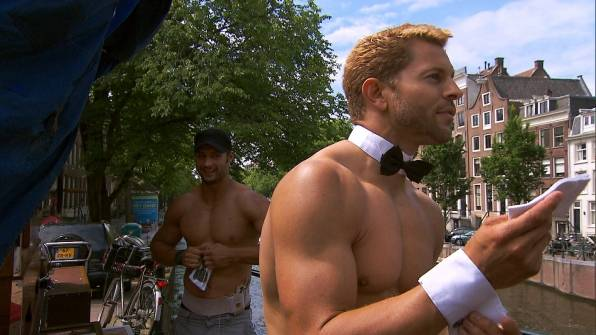 "James Davis and Jaymes Vaughan of Chippendales at the Rio compete on CBS' ""The Amazing Race"" on Sunday, Nov. 25, 2012."