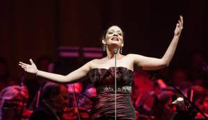 "Andrea Bocelli's ""One Night in Las Vegas"" with conductor Eugene Kohn, soprano Maria Aleida (pictured here) and mezzo-soprano Katherine Jenkins at the sold-out MGM Grand Garden Arena on Saturday, Nov. 24, 2012."