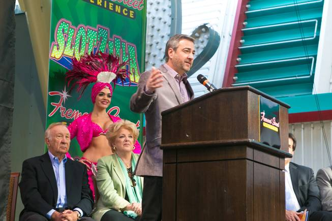 Jeff Victor, president of Fremont Street Experience, makes a few remarks Tuesday, Nov. 27, 2012, before unveiling downtown's newest addition, SlotZilla, a permanent two-level zip line that spans 1,700 feet through the downtown canopy.