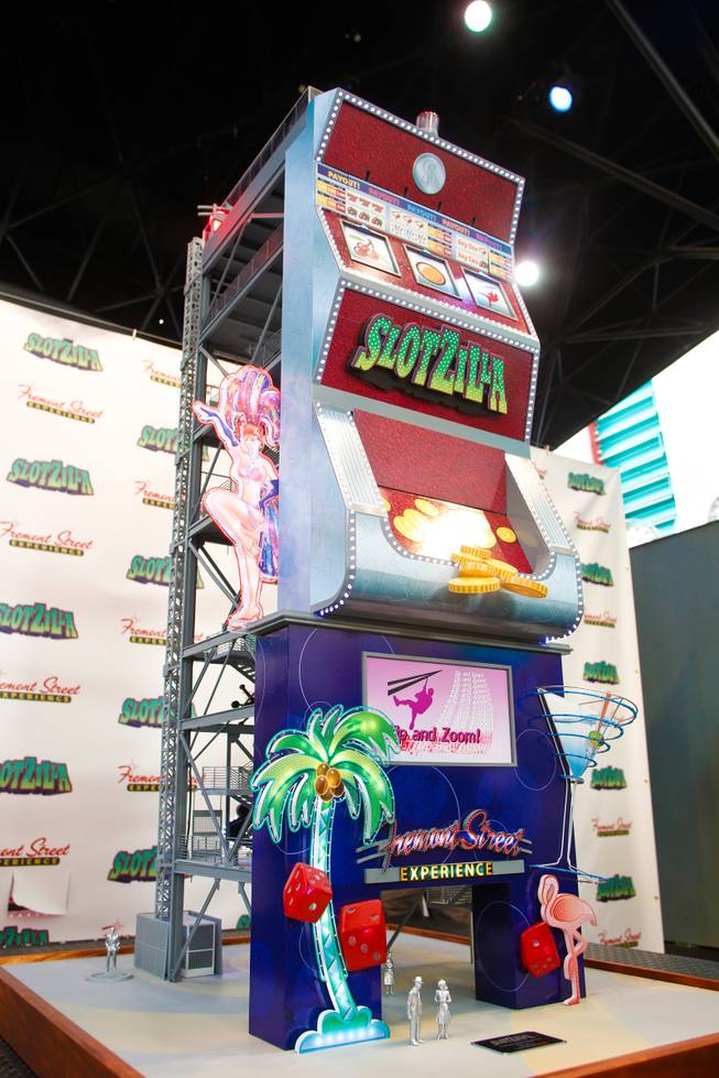 SlotZilla, a permanent two-level zip line that spans 1,700 feet through the Fremont Street Experience canopy was unveiled to the public Tuesday, Nov. 27, 2012.