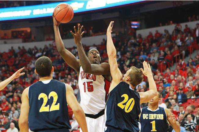 UNLV forward Anthony Bennett puts up a hook shot over UC Irvine forward Adam Folker during their game Wednesday, Nov. 28, 2012 at the Thomas & Mack. UNLV won the game 85-57.