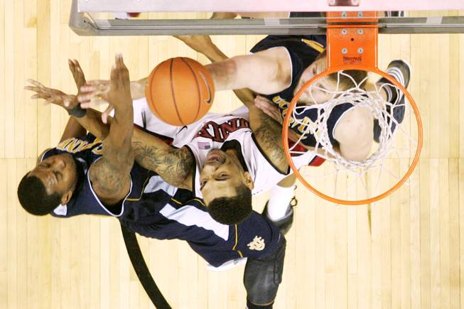 UNLV guard Anthony Marshall is fouled by UC Irvine during their game Wednesday, Nov. 28, 2012 at the Thomas & Mack. UNLV won the game 85-57.