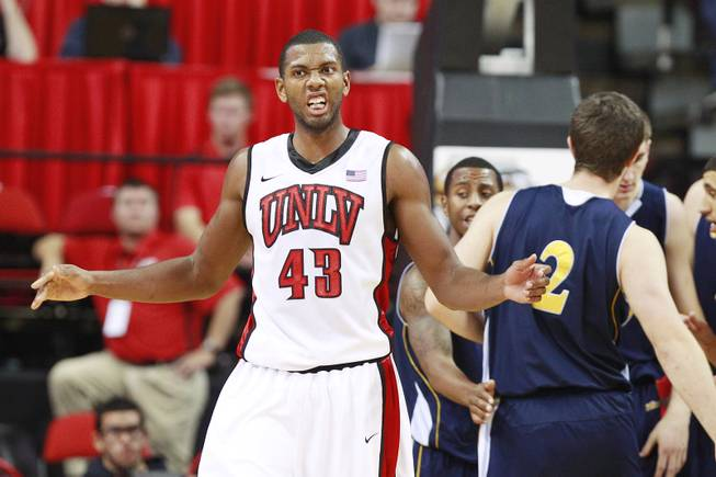 UNLV forward Mike Moser reacts after being called for a foul during their game against UC Irvine Wednesday, Nov. 28, 2012 at the Thomas & Mack. UNLV won the game 85-57.