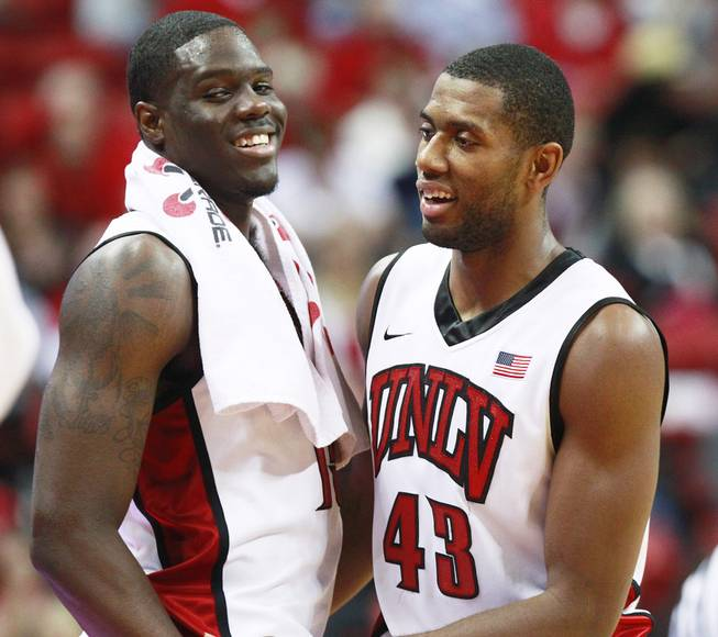 UNLV forwards Anthony Bennett, left, and Mike Moser come out of their game against UC Irvine Wednesday, Nov. 28, 2012 at the Thomas & Mack. UNLV won the game 85-57.