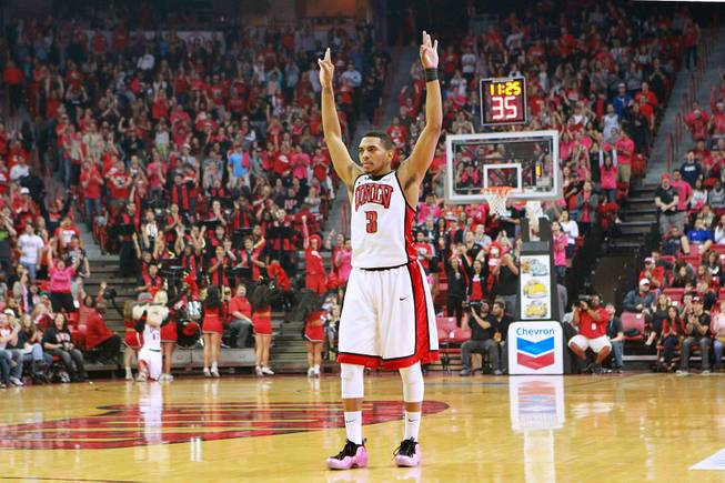 UNLV guard Anthony Marshall signals a three-point shot against UC Irvine during their game Wednesday, Nov. 28, 2012 at the Thomas & Mack. UNLV won the game 85-57.