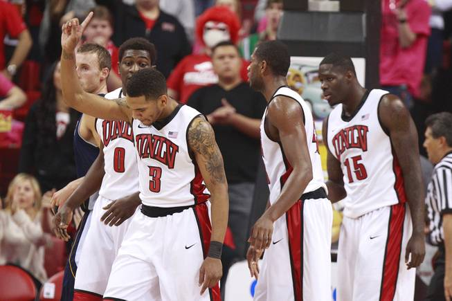 "UNLV guard Anthony Marshall wags his finger signifying ""No"" after the Rebels rejected a UC Irvine shot during their game Wednesday, Nov. 28, 2012 at the Thomas & Mack."