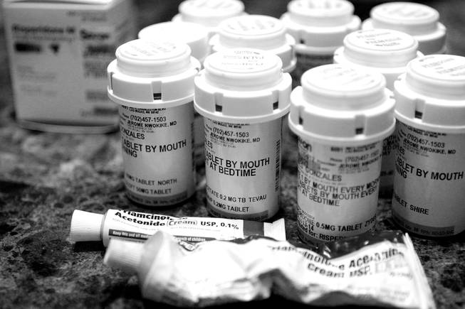 All the medications that Almalinda Guerrero-Gonzales gives to her five children, who have various physical and mental disabilities, at their home in Las Vegas on Wednesday, November 28, 2012.