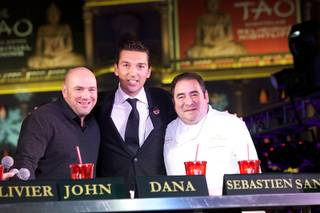 Round 1 of Culinary Clash featuring Dana White, Sebastien Silvestri and Emeril Lagasse, with emcee Robin Leach, at the Venetian on Thursday, Nov. 29, 2012.