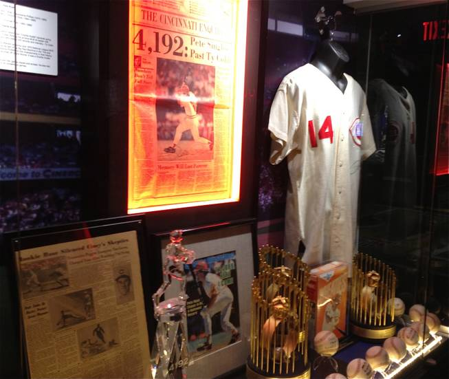 Pete Rose was banned from baseball, and its Hall of Fame under gambling allegations, but in Las Vegas he has a display at Score!, the interactive fantasy sports exhibit at the Luxor in Las Vegas.