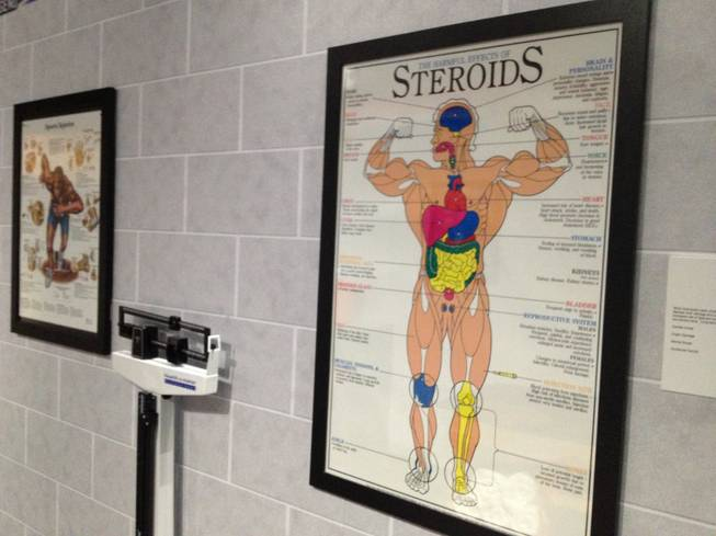 Issues such as steroid use are given treatment at at Score!, the interactive sports fantasy exhibit at the Luxor in Las Vegas.
