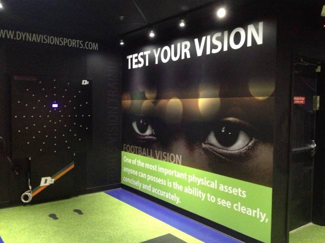 Visitors can measure jumping ability, vision and other physical tests to see how they compare with profession athletes at Score!, the interactive fantasy sports exhibit at the Luxor in Las Vegas.
