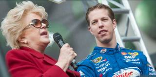 Mayor Carolyn Goodman and Brad Keselowski at the Victory Lap of 2012 NASCAR Champion's Week on the Strip on Thursday, Nov. 29, 2012.