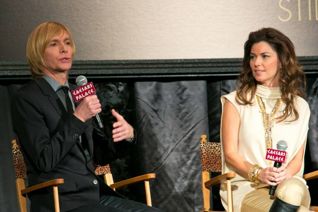 "Costumier Mark Bouwer and Shania Twain make a few remarks during a press conference at Caesars Palace for their upcoming show ""Still the One"" on Friday, Nov. 30, 2012."